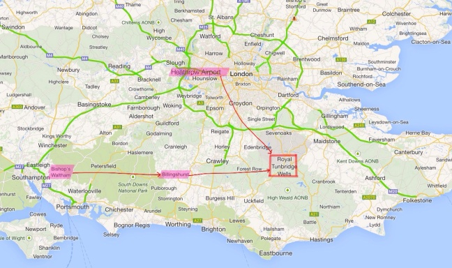 Route we took to go to Kent. Clearly, it is pretty near London and the airport.